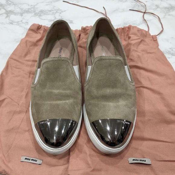 Authentic Miu Miu Cap Toe Sneaker